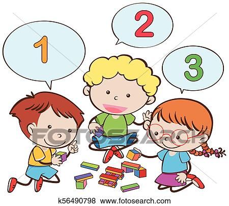 Happy Children Counting Numbers Clip Art K56490798 Fotosearch