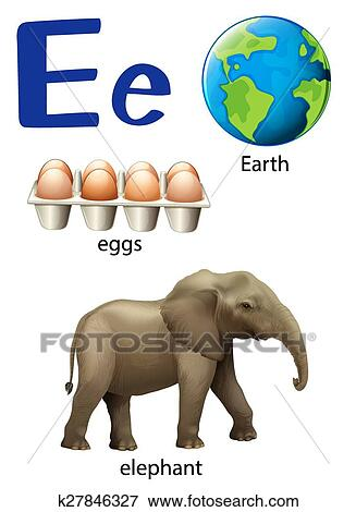 Letter E For Earth Eggs And Elephant Clip Art K27846327 Fotosearch