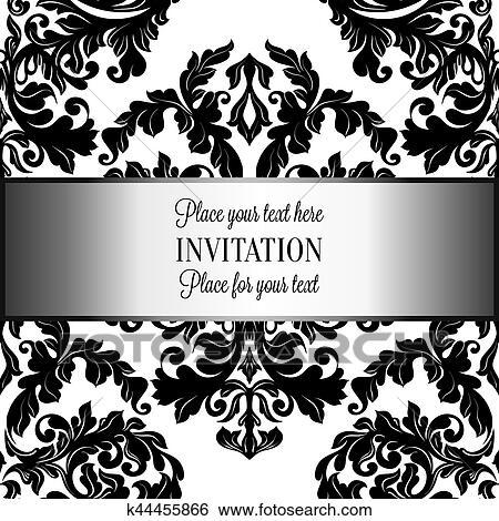 baroque fond a antiquite luxe noir blanc vendange cadre victorien banniere damasse floral papier peint ornements invitation carte