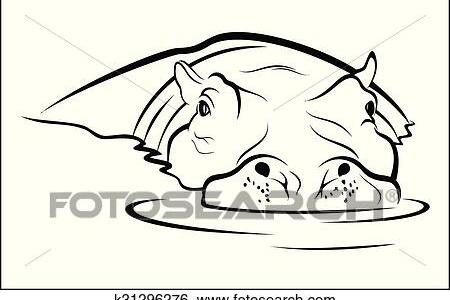 African Animal Coloring Pages Hippo Family Animals Outline On White Background Roaring In Water