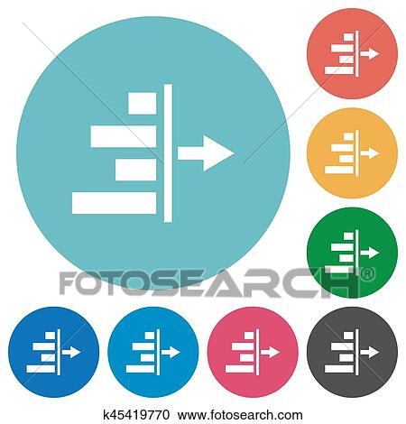 Decrease right indentation of content flat round icons Clipart | k45419770 | Fotosearch