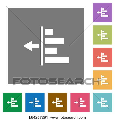 Decrease left indentation of content square flat icons Clipart | k64257291 | Fotosearch