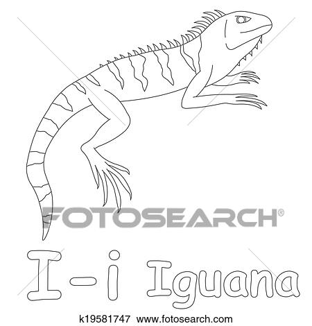 I For Iguana Coloring Page Stock Illustration K19581747 Fotosearch