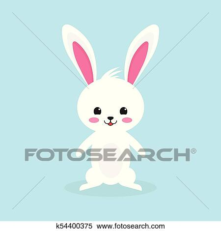 Happy Easter Rabbit White Cute Bunny Clipart K54400375 Fotosearch