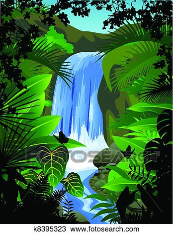 Clipart Of Tropical Forest Background K8395323 Search Clip Art Illustration Murals Drawings