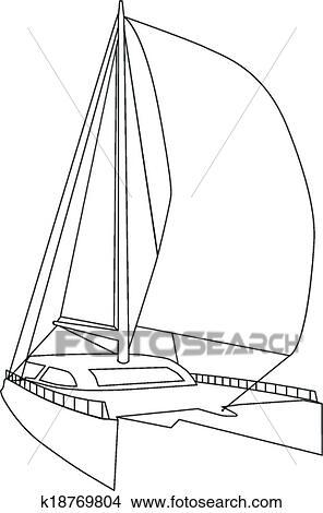 Clipart Of Sailing Catamaran K18769804 Search Clip Art