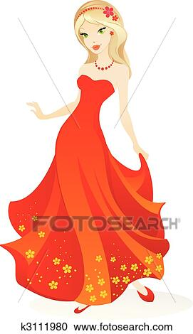 Clipart of beautiful girl k3111980 Search Clip Art
