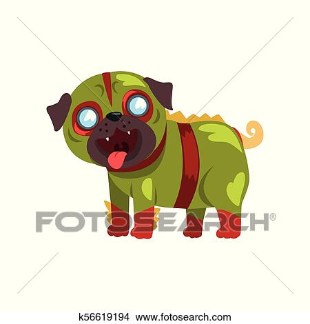 Download Funny pug dog character dressed in green military suit ...