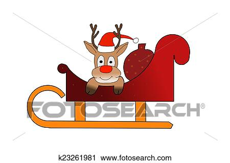 Rudolph Sitting In Santas Sleigh On White Background Clip Art K23261981 Fotosearch