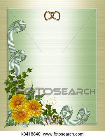 Wedding Invitation Yellow Flowers