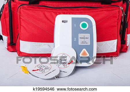 Stock Image - Automated External Defibrillator. Fotosearch - Search Stock Photography, Poster Photos, Pictures, and Photo Clip Art