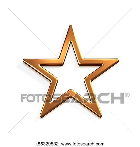 Bronze Star Icon. 3D Render Illustration Drawing | k55329832 | Fotosearch