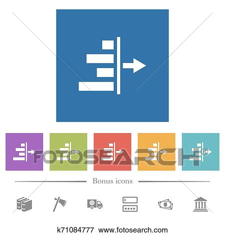 Decrease right indentation of content flat white icons in square backgrounds Clip Art | k71084777 | Fotosearch