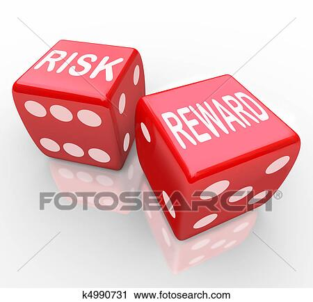 Risk and Reward - Words on Dice Stock Image | k4990731 | Fotosearch