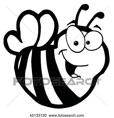 Schwarz Weiß Lächeln Biene Clipart
