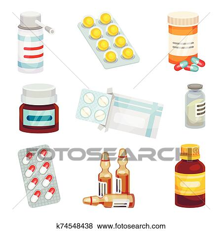 Set of pills and potions. Vector illustration on a white background. Clip Art   k74548438   Fotosearch