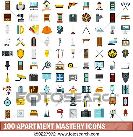 100 Apartment Mastery Icons Set In Flat Style For Any Design Vector Ilration