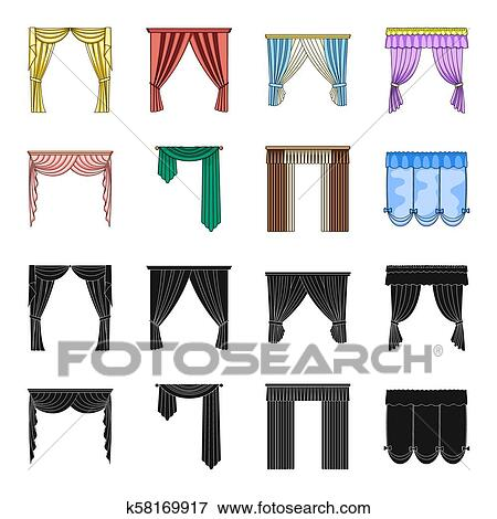 Different Types Of Window Curtains Curtains Set Collection Icons In Black Cartoon Style Bitmap Symbol Stock Illustration Web Stock Illustration K58169917 Fotosearch