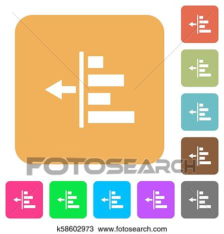 Decrease left indentation of content rounded square flat icons Clipart | k58602973 | Fotosearch
