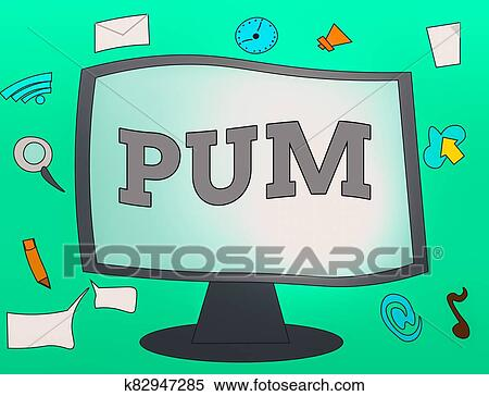 Handwriting text Pum. Concept meaning unwanted change that can be performed by legitimate applications Web Application Software icons Surrounding ...