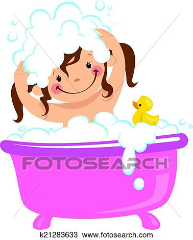 Clipart Of Baby Kid Girl Bathing In Bath Tub And Washing