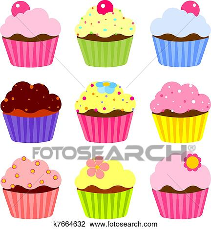 Clipart Of Various Cupcake K7664632 Search Clip Art