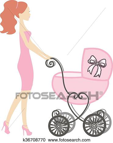 vector of modern mommy with vintage