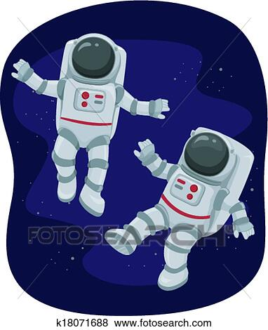 Clip Art of Astronauts Floating in Space k18071688
