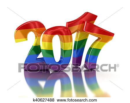 Stock Illustration of Gay Pride Color New Year 2017 k40627488     Stock Illustration   Gay Pride Color New Year 2017  Fotosearch   Search EPS  Clip Art