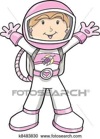 Clipart of Cute Astronaut Cartoon Girl Vector k8483830 ...