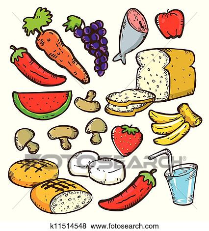 Clip Art Of Set Of Healthy Food In Doodle Style K11514548