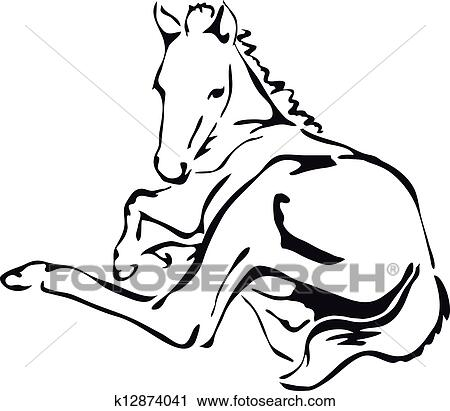 Clipart of black and white foal k12874041 Search Clip