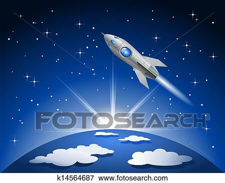 Clip Art of Rocket flying into space k14564687 - Search ...