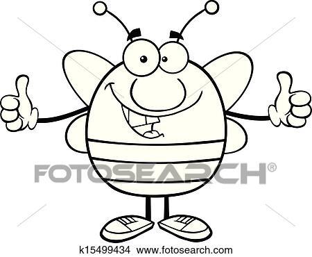 Schwarz Weiß Pudgy Biene Clipart