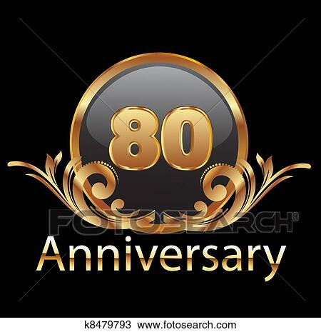 Download Clipart of 80 years anniversary birthday k8479793 - Search ...