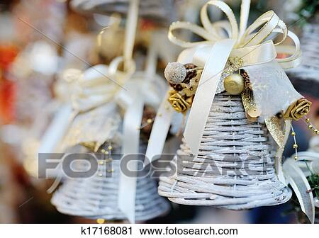 Stock Photography - Christmas tree decoration white bell with ribbon. Fotosearch - Search Stock Photos, Pictures, Prints, Images, and Photo Clip Art