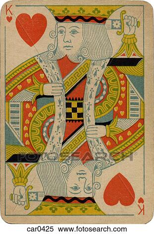 King Of Hearts Vintage Playing Card Stock Illustration Car0425 Fotosearch