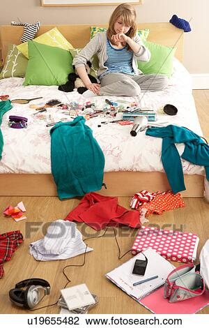 Stock Photo Teenage Girl In Untidy Bedroom Fotosearch Search Photography Print