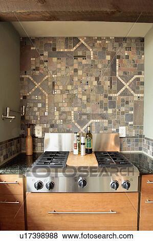 decorative tile backsplash stock photo