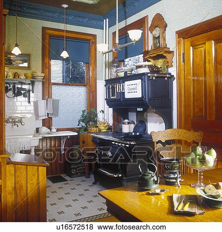Pictures Of KITCHENS View To Restored 1916 Glenwood Cast Iron Stove In Remodeled Victorian