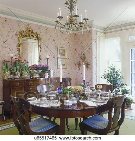 banque d image salle manger traditionnel renaissance grecque formel salle table ensemble rose impression papier peint blanc tailler