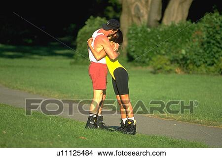 Stock Photo of embrace, couple, hug, share, sport, love ...