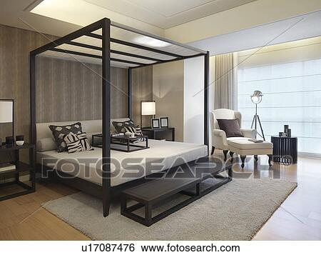 Modern Four Post Bed Stock Photograph U17087476 Fotosearch