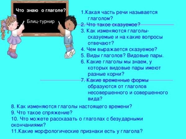 """Презентация по русскому языку """"Сказуемое - глагол ..."""