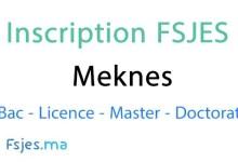 inscription FSJES Meknes doctorat 2020-2021