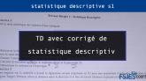 TD avec corrigé de statistique descriptive s1 pdf