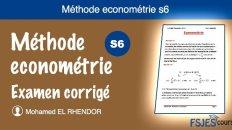 Méthode econométrie examen corrigé