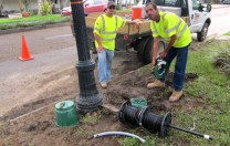 These men from All Star Electric were running underground wiring along Esplanade Avenue today.   The new underground wiring should get many more streetlights working.