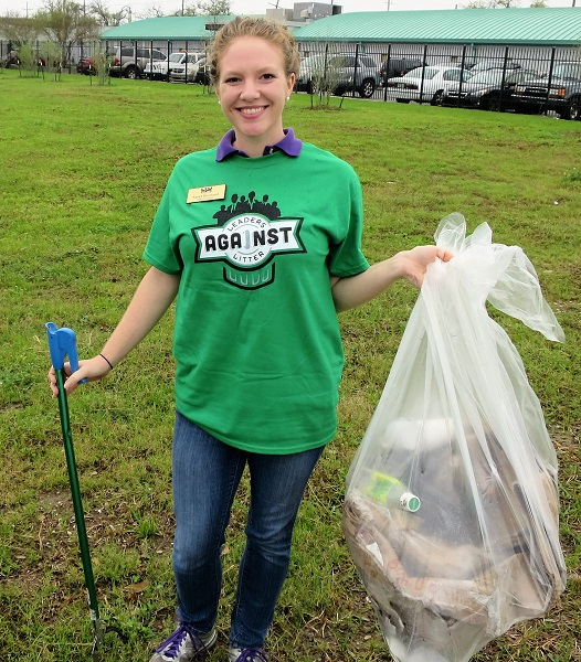 "Sarah Bertrand from the LSU Ag Center was one of many Leader Against Litter taking part in the ""Green-Up"" on the Lafitte Greenway."