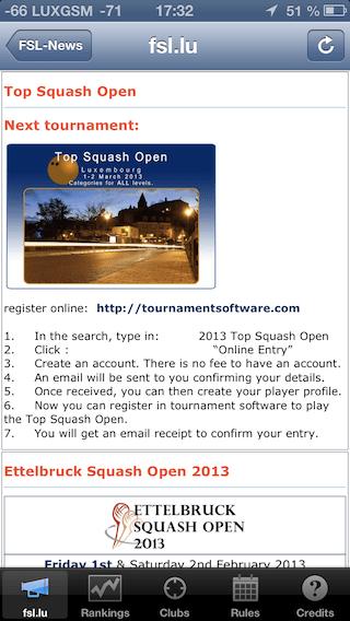 FSL-app – Fédération de Squash Luxembourgeoise